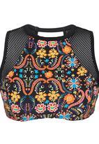 PIHA - Mesh Inset High-Neck Top Multi-colour