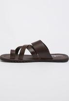 STYLE REPUBLIC - Ancient Greek Leather Sandals Dark Brown