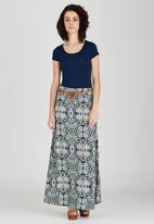 Revenge - All-over Print Maxi Skirt Mid Blue