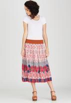 Revenge - Patterned Midi Skirt Mid Pink