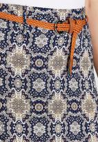 Revenge - Boho All Over Print Maxi Skirt Mid Blue