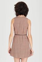 Revenge - Patterned Sleeveless Tunic Dress with belt Tan