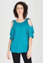 edit - Bell Cold-shoulder Top Turquoise