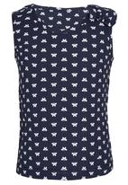 See-Saw - Printed Vest with Bow Navy