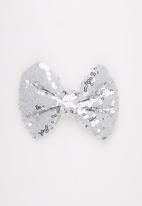 POP CANDY - Sparkled Bow Clip Silver