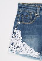 GUESS - Denim Short With Lace Trim Mid Blue