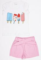 POP CANDY - Printed  Top And Short Set Pale Pink