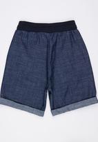 Rebel Republic - Boys Denim Shorts with Rib Dark Blue