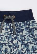 See-Saw - Camo Shorts with Rib Dark Blue