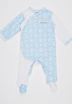 Poogy Bear - Crossover Opening Babygrow Pale Blue