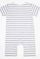 POP CANDY - Short Sleeve Grey Stripe Bodysuit Multi-colour