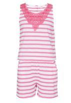 Soobe - Girls Stripe Jumpsuit Mid Pink