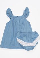 Poogy Bear - Denim Dress And Bloomer Set Pale Blue