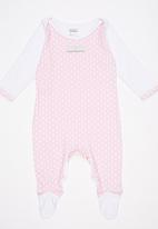 Poogy Bear - Polka Dot  Babygrow Pale Pink