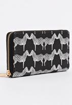 STYLE REPUBLIC - Zebra Print Zip-around Purse Black and White