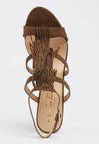 Gino Paoli - Fringe Detail Wedges Khaki Green