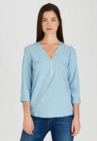 Revenge - Chambray Zip Front Tunic Top Pale Blue