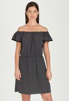 edit - Off-the-shoulder Dress Black and White
