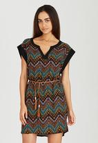 Brave Soul - All-over Printed Tunic Dress with Belt Black