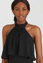 ELIGERE - Chiffon Halter Neck Maxi Dress Black