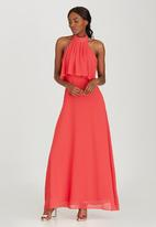 ELIGERE - Chiffon Halter Neck Maxi Dress Red
