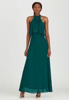 ELIGERE - Chiffon Halter Neck Maxi Dress Dark Green