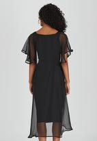 ERRE - Chiffon Pencil Dress Set Black