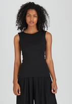 ERRE - Top with Shoulder Buttons Black