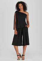 ERRE - One Shoulder Gathered Top with Bow Black