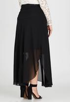 edit Plus - Basque Chiffon Skirt Black
