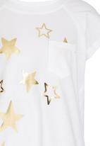 Rebel Republic - T-shirt Dress with Foil Print White