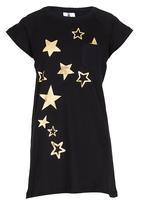 Rebel Republic - T-shirt Dress with Foil Print Black
