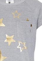 Rebel Republic - T-shirt Dress with Foil Print Grey