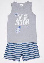 Rebel Republic - Vest and Short Pyjama Set Grey Melange
