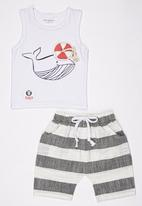 POP CANDY - Nautical Tee and Short Set Black and White