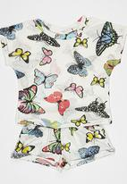 POP CANDY - Butterfly Printed Knitted Tee and Short Set Multi-colour