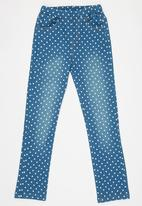 POP CANDY - Heart Printed Jeans Mid Blue