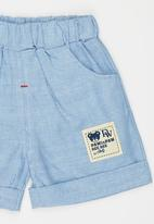 POP CANDY - Striped Shorts with Turn-up Blue