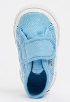 SUPERGA - Canvas Velcro Strap  Sneaker Mid Blue
