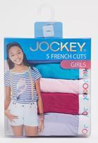 Jockey - 5 Pack Girls Plain French Cut Mid Blue