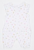 Baby Corner - Flower Frilly Short Sleepsuit   White