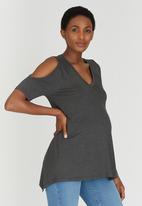 edit Maternity - Cold Shoulder Top Grey Melange