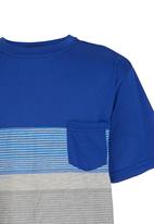 POP CANDY - Boys  Stripe   Tee Mid Blue