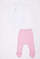 Baby Corner - Footed Pants Set  Pale Pink