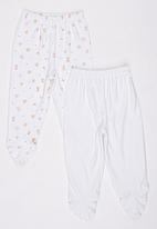 Baby Corner - 2 Pack Footed Flower  Pants  Multi-colour