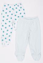 Baby Corner - 2 Pack Footed  Turtle Pants Multi-colour