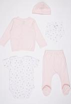 Baby Corner - 5 Piece Jaquard Cardigan Set Pale Pink