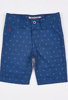 SOVIET - Printed Cotton Short  Mid Blue