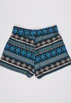 Rebel Republic - Stretchy Fold Over Shorts Multi-colour