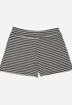 Rebel Republic - Stretchy Fold Over Shorts Black and White